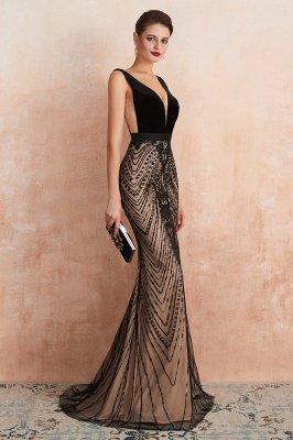 Celeste   Robe de soirée sexy de style compliqué à col en V noir, robe de velours sans dossier en paillettes étincelante pour bal de promo_5