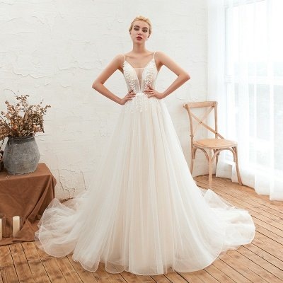 Summer Spaghetti Straps Plunging V-neck Champange Wedding Dress | Sexy Low Back Bridal Gowns Online_8