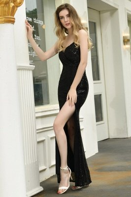 Ardell | Sexy Black Emerald Sequined High Slit Prom Dress Online_15