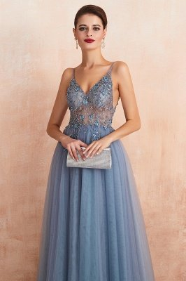 Charlotte | New Arrival Dusty Blue, Pink Spaghetti Strap Prom Dress with Sexy High Split, Evening Gowns Online_5
