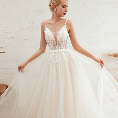 Summer Spaghetti Straps Plunging V-neck Champange Wedding Dress | Sexy Low Back Bridal Gowns Online_20