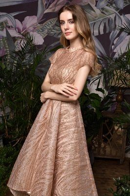 Ardolf | High neck Short Sleeve Champange Sequined High Low Prom Dress_10