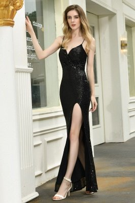 Ardell | Sexy Black Emerald Sequined High Slit Prom Dress Online_14