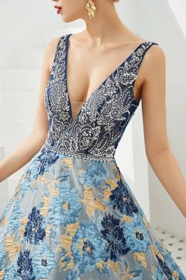 Heather | Luxury Floral Sexy Deep V-neck Princess Prom Dress with Deep V-back_10