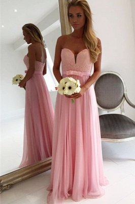Sweetheart Pink Lace Chiffon Bridesmaid Dresses | Open Back Blowknot Maid Of Honor Dress_3