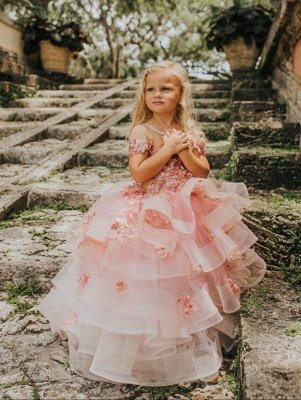 Belle bijou manches courtes à plusieurs niveaux robes de demoiselle d'honneur en tulle avec des fleurs à la main | Robe de concours de petite fille longue transparente_4