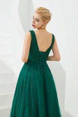 Harriet | Shining Emerald green Sexy V-neck Princess Low back Prom Dress with Pleats_9