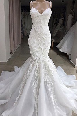 Spaghetti Strap Real Model White Mermaid Wedding Dresses with Gorgeous Lace Appliques