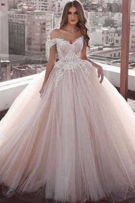 Elegant Ball Gown Off the shoulder Lace Puffy Tulle Wedding Dress Online
