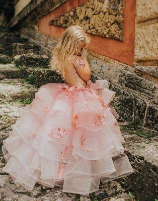Belle bijou manches courtes à plusieurs niveaux robes de demoiselle d'honneur en tulle avec des fleurs à la main | Robe de concours de petite fille longue transparente_2