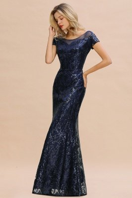 Helen| Long Sequined Cap sleeves Scoop neck Formal dress for Prom_10