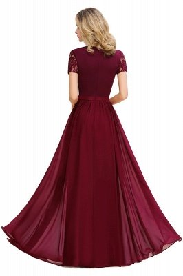 Abraham | Burgundy Short Sleeve Lace Simple Chiffon Formal Dress, Pink, Dark Green_17