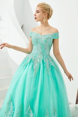Henry | Elegant Off-the-shoulder Princess Red/Mint Prom Dress with Wing Emboirdery_15