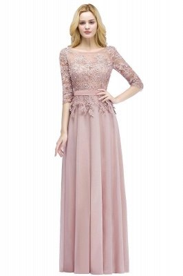 PAMELA   A-line Floor Length Half Sleeves Appliques Bridesmaid Dresses with Sash_1