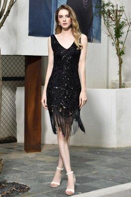 Arda | Vestido de fiesta de cóctel corto con lentejuelas y cuello en V negro_2
