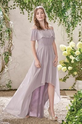 New Elegant Affordable Ruffles Spaghetti Straps Bateall Bridesmaid Dresses | Long Prom Dress Wedding Party Dresses