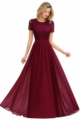 Abraham | Burgundy Short Sleeve Lace Simple Chiffon Formal Dress, Pink, Dark Green_16