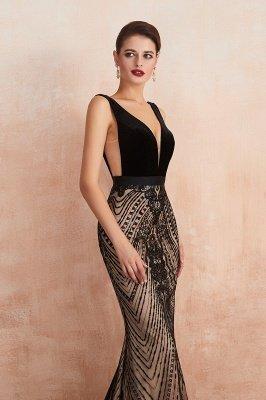 Celeste   Robe de soirée sexy de style compliqué à col en V noir, robe de velours sans dossier en paillettes étincelante pour bal de promo_3