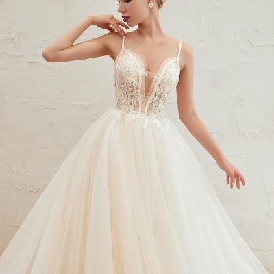 Vestido de novia marfil con tirantes finos boho | Vestidos de novia románticos en venta_5
