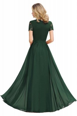 Abraham | Burgundy Short Sleeve Lace Simple Chiffon Formal Dress, Pink, Dark Green_10