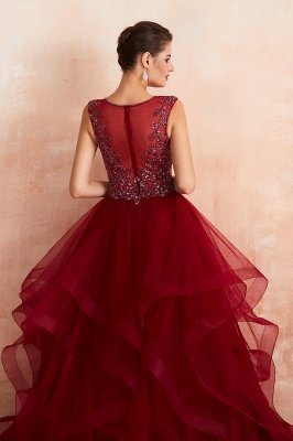Cherise | Wine Red V-neck Sparkle Prom Dress with Muti-layers, Discount Burgundy Sleevleless Ball Gown for Online Sale_9