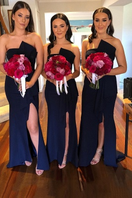 Ruched Sash Court Train Long Irregular Collar Bridesmaid Dress | Dark Navy Long Prom Dresses