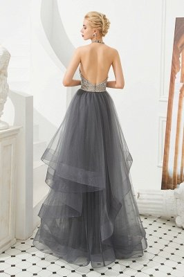 Floral Halter Evening Dress with Sparkle Beads | Trendy Gray Mother of the bride Dress with watermelon and blue decorations_5