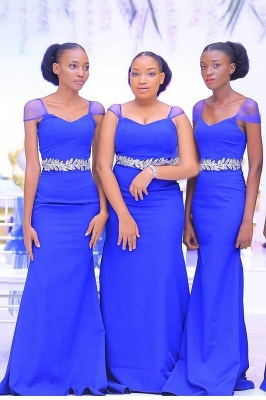 Sweetheart Neckline Cap Sleeves Floor Length Bridesmaid Dress With A Belt Of Leaves Pattern | Royal Blue Wedding Party Prom Dresses_2