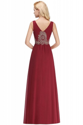 Charming V-Neck Gold Appliques aline Evening Maxi Gown Sleeveless Chiffon Prom Party Dress_6