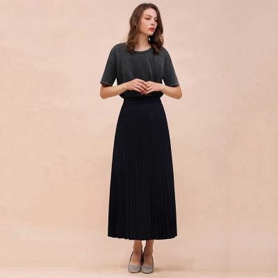 Alice New Fashion Damen Casual Frühling Autunm Stretch Hanf Plissee A-Linie Tee Länge Rock_18