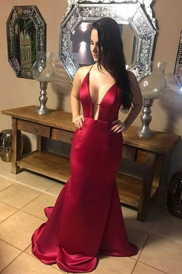 Sexy Ruby Spaghetti Strap Criss-cross Open Back Column Prom Dress_1