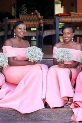Mermaid Floor Length Off The Shoulder Bridesmaid Dresses With Appliques| Blushing Pink Split Dresses For Maid of Honor_2