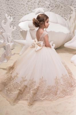 Cute Jewel Organza Floor Length Backless Flower Girl Dresses With Bow| Sleeveless FLoor Length Little Girl Pageant Dresses_2