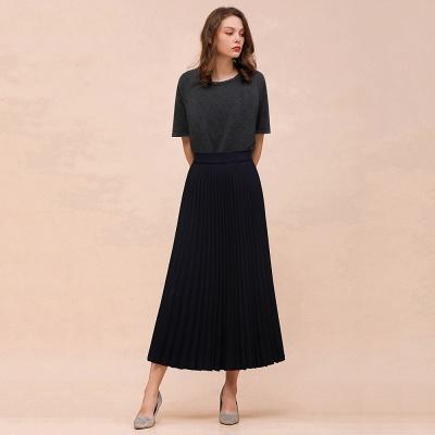 Alice New Fashion Damen Casual Frühling Autunm Stretch Hanf Plissee A-Linie Tee Länge Rock_15