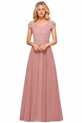 Burgundy Cap sleeves Lace Evening Gowns with Appliques | Cheap Chiffon Long Mother of the bride dress_2