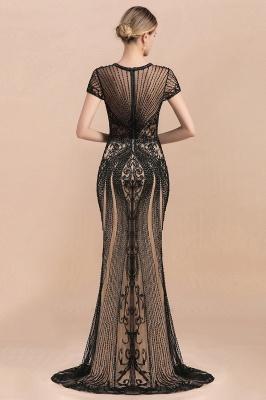 Robe de bal sirène noire de luxe recouverte de perles_10