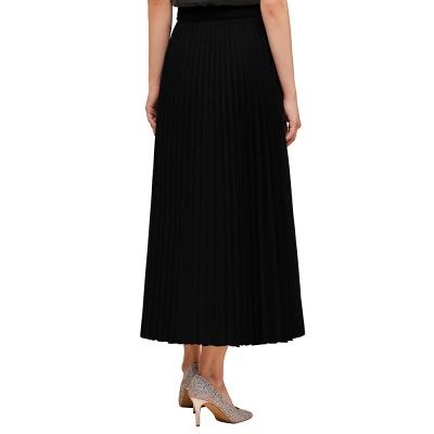 Alice New Fashion Damen Casual Frühling Autunm Stretch Hanf Plissee A-Linie Tee Länge Rock_14