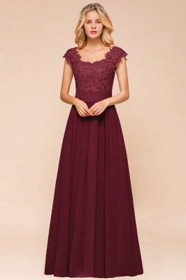 Burgundy Cap sleeves Lace Evening Gowns with Appliques | Cheap Chiffon Long Mother of the bride dress_13
