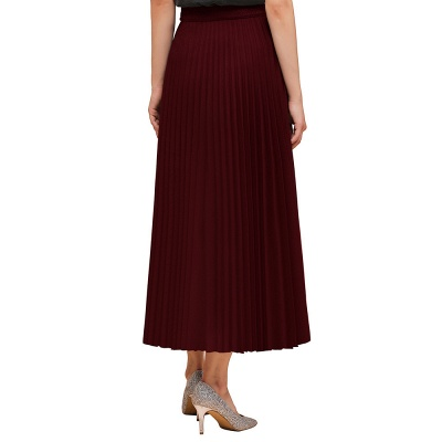 Alice New Fashion Damen Casual Frühling Autunm Stretch Hanf Plissee A-Linie Tee Länge Rock_12