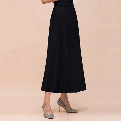 Alice New Fashion Damen Casual Frühling Autunm Stretch Hanf Plissee A-Linie Tee Länge Rock_6
