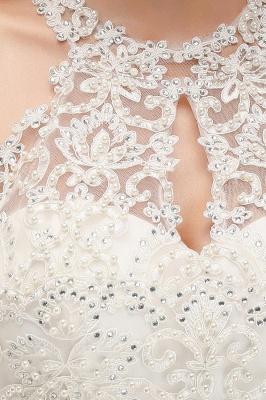 Robes de demoiselle d'honneur licou A-ligne de perles de poires roses modestes_16