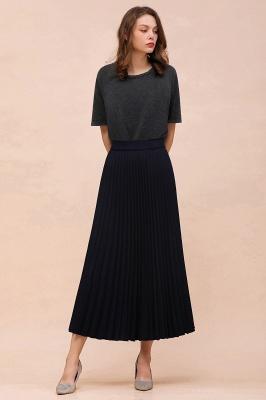 Alice New Fashion Damen Casual Frühling Autunm Stretch Hanf Plissee A-Linie Tee Länge Rock_25