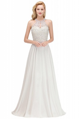 Modest Pink Pears Beaded A-line Halter Bridesmaid Dresses_14