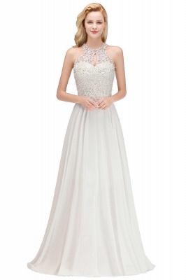 Robes de demoiselle d'honneur licou A-ligne de perles de poires roses modestes_14