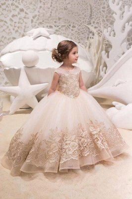 Cute Jewel Organza Floor Length Backless Flower Girl Dresses With Bow| Sleeveless FLoor Length Little Girl Pageant Dresses