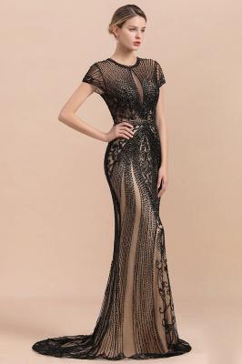 Robe de bal sirène noire de luxe recouverte de perles_7