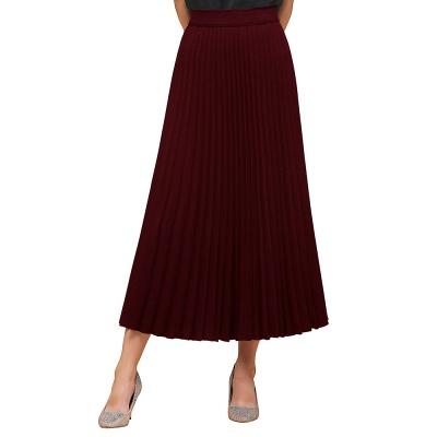 Alice New Fashion Damen Casual Frühling Autunm Stretch Hanf Plissee A-Linie Tee Länge Rock_11