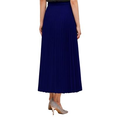 Alice New Fashion Damen Casual Frühling Autunm Stretch Hanf Plissee A-Linie Tee Länge Rock_10