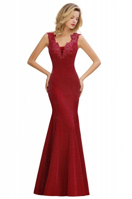 Sparkly Deep V-neck Long Evening Dresses | Elegant Flowers Neck Sleeveless Pink Floor-length Formal Dress_2