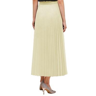 Alice New Fashion Damen Casual Frühling Autunm Stretch Hanf Plissee A-Linie Tee Länge Rock_8